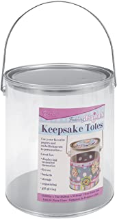 """Darice Keepsake Totes Clear Plastic Paint Can – Personalize with Papers and Embellishments – Great for Gift Baskets, Storage, Centerpieces, Displays – Silver Metallic Top, Bottom and Handle, 6-5/8""""x7"""""""
