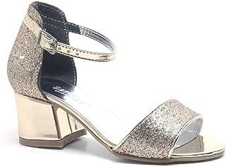 Altın Simli Kalın Topuklu Kız Çocuk Abiye Ayakkabı
