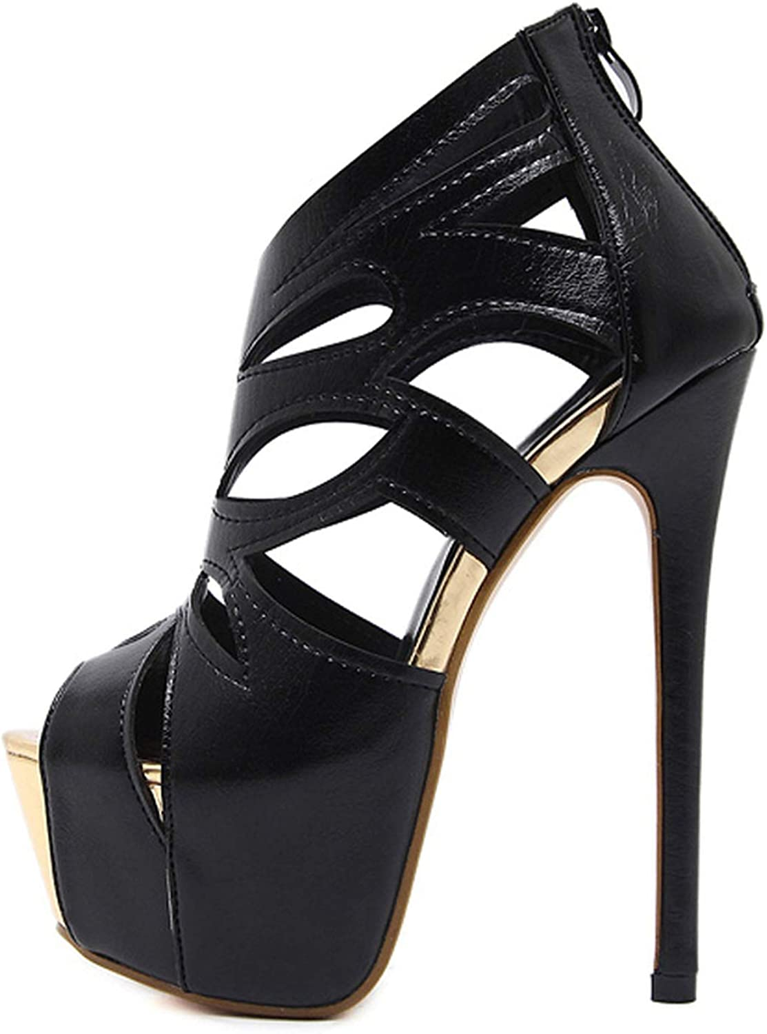 IOJHOIJOIJOIJMO Women Sandals Super High Heel Open The Toe Sandals Thick Heel Fashion Sexy High Heels Sandals shoes Black