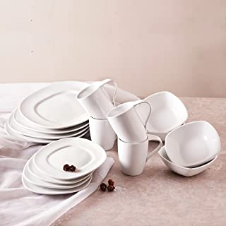joohoo 16 Piece square dinnerware set for 4 High White Durable Porcelain