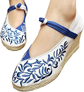 JIUZHOUTONG Old Beijing Embroidered Cloth Shoes Flat