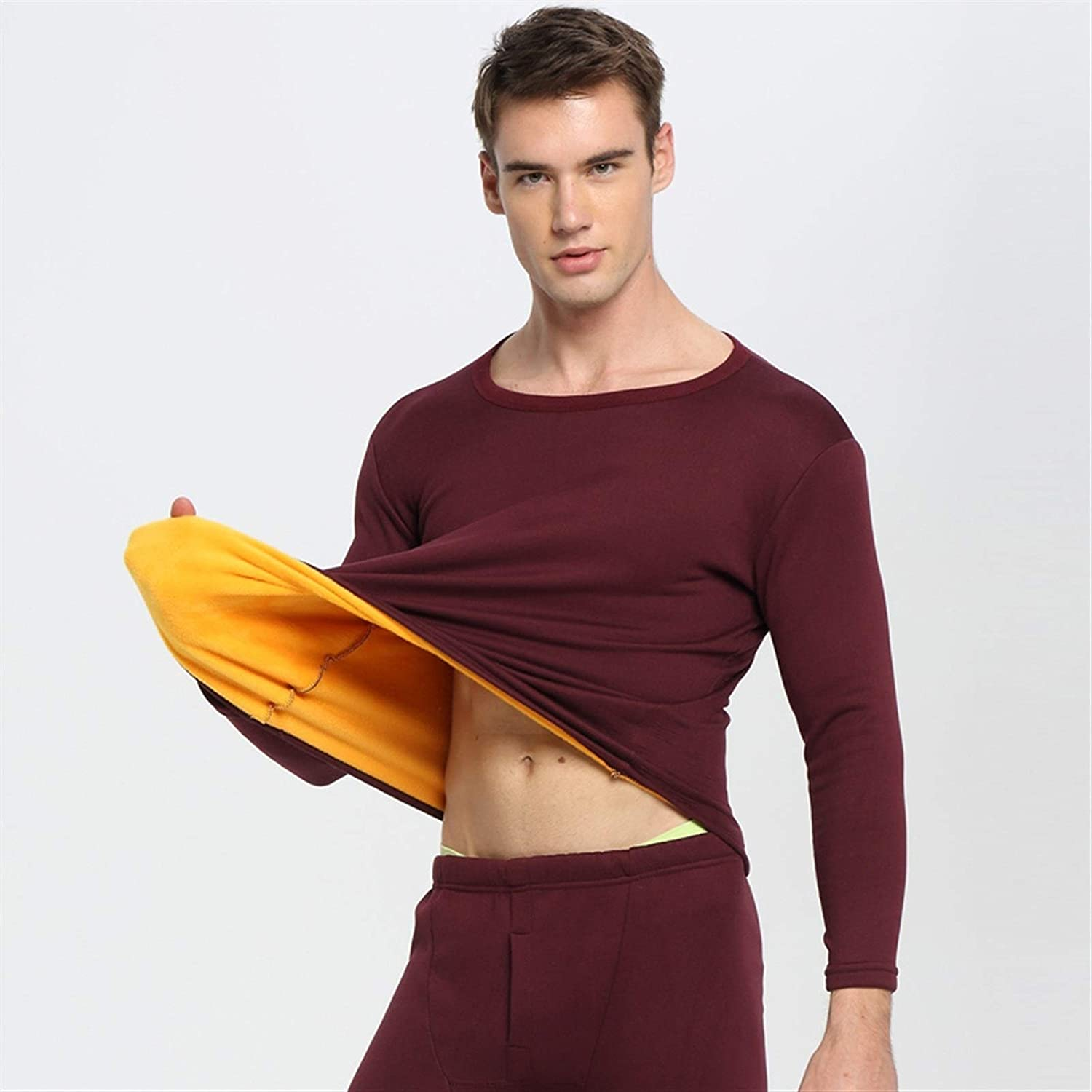 ZHANGZEHONG Thermal Underwear Men Winter Women Long Johns Sets Fleece Keep Warm in Cold Weather Size L to 6XL (Color : WineRed, Size : XXXXXX-Large)
