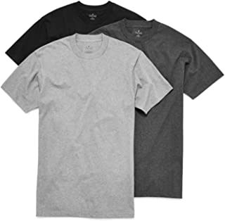 3-Pack Men's Heavy Weight 100% Cotton Crew-Neck T-Shirt Black/Grey