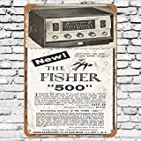 Henson 1957 Fisher 500 Receiver Traditional vintage Tin Sign Logo 12 * 8 Advertising Eye-Catching Wall...