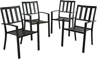 Ulax Furniture Outdoor Patio Dining Arm Chairs Steel Slat Seat Stacking Garden Chair Set of 4 for Porch, Backyard