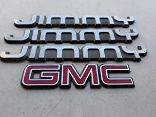 97-01 GMC Jimmy Side Fender Logo Nameplate 15700054 Lid Trunk Emblem Badge Decal Set of 4