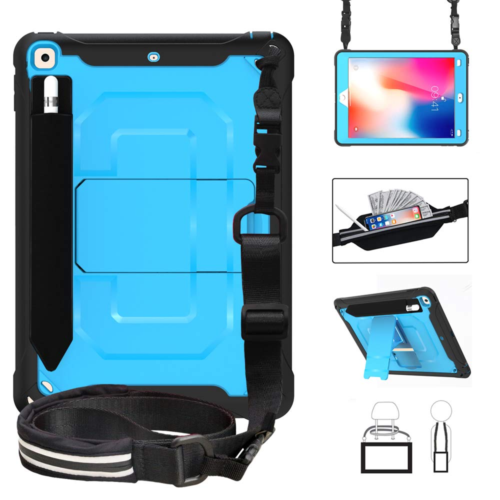 ZenRich New iPad 9.7 Inch 2017/2018 Rugged Case with Hybrid Heavy Duty Protection and Built-in Pencil Holder and Kickstand for Apple iPad 9.7 2017 / iPad 9.7 2018 (Blue)