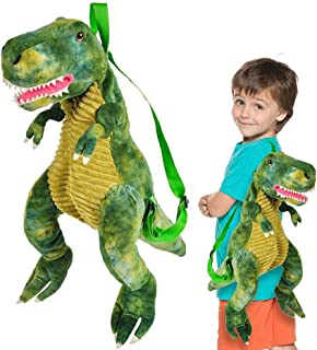 ArtCreativity Plush T-Rex Backpack for Kids, 1PC, Dinosaur Bag for Kids with Adjustable Straps and Zipper, Cool Dinosaur C...