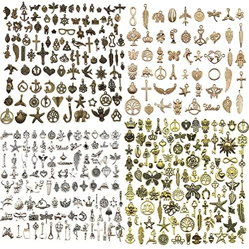 Flymind Bulk Lots - Abalorio para hacer joyas, 350 unidades, varios dijes antiguos, de aleación de oro tibetano, de plata y oro, colgantes para hacer collares y pulseras (4 colores)
