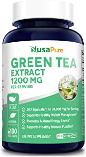 Green Tea Extract 98% 1200mg with EGCG 180 Vegetarian Capsules (Non-GMO & Gluten Free) Extract 20:1 Equivalent to 24000mg ...
