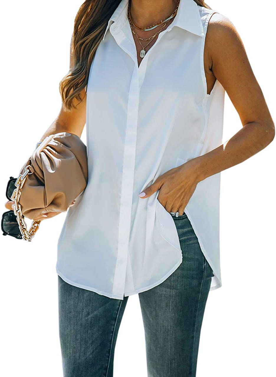 Dellytop Women's Summer Sleeveless Shirts Button Down V Neck Lapel Casual Loose Top Blouses