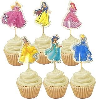 48pcs Princess Party Cupcake Toppers Birthday Party Supplies (8 Ariel, 8 Cinderella,8 Jasmine, 8 Snow White, 8 Belle,8 Aurora)