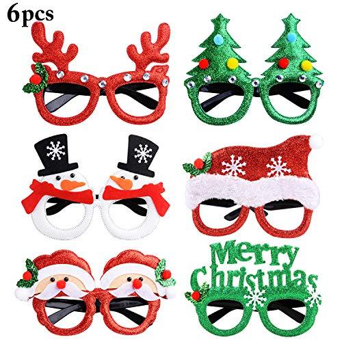 Joyibay 6 Paia Occhiali di Natale Occhiali da Festa Simpatico Cartone Animato Assortito Bicchieri da Festa in Costume Forniture per Feste Decorazione per Bambini e Adulti