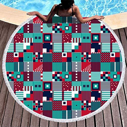 Dofeely Kleurrijke geometrische vierkante druk absorberend strandhanddoek kwast tapijt vrije tijd mat tapijt roundie picknick tafel bekleding kunst 59 inch