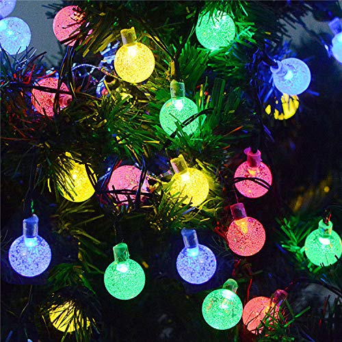 MUCH Solar String Ball Lights, 30 LED Weatherproof Hanging Lamp, 2 Modes Waterproof Solar Powered Starry Light, Decor for Yard Garden Patio Holiday Home Party Wedding Outdoor Decorations (Multi-color)