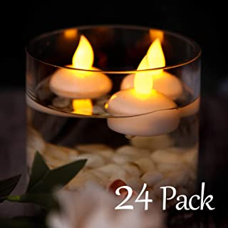 Homemory 24PCS Waterproof Floating Tealights LED Flameless Flickering Tealight Candles Battery Operated for Wedding, Party, Bathroom, Pool, SPA - Amber Yellow