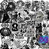 Pegatinas Góticas Pegatinas en Blanco y Negro Pegatinas Góticas de Vinilo Impermeables Pegatinas de Cráneo Góticas Pegatinas de Graffiti Geniales para Equipaje Cuadern (50)