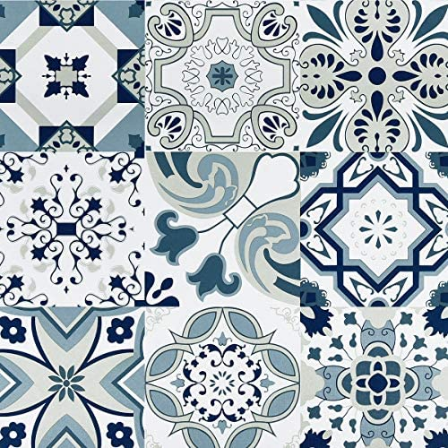 Melwod 394 x 17 7 Blue Tile Contact Paper Blue Flower Wallpaper Peel and Stick Wallpaper Self product image