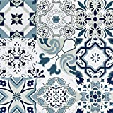 """Melwod 394"""" x 17.7"""" Blue Tile Contact Paper Blue Flower Wallpaper Peel and Stick Wallpaper Self-Adhesive Wall Covering Removable Mediterranian Pattern Roll Waterproof"""