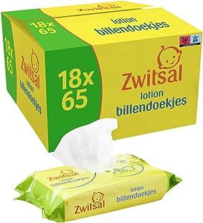 Zwitsal Lotion Billendoekjes voor milde reiniging van de babyhuid - 18 x 65 stuks - Voordeelverpakking