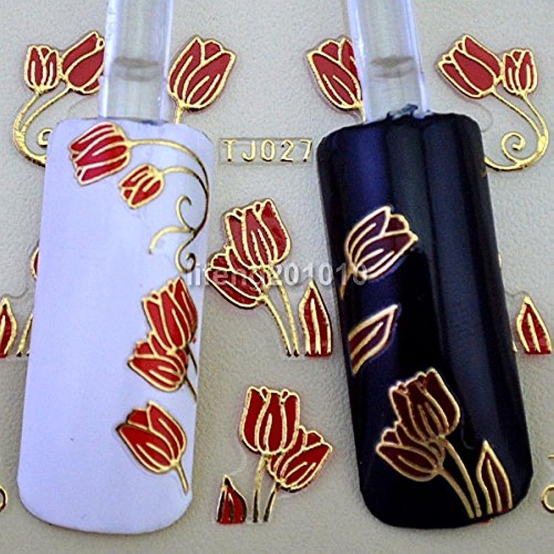 プラカードコーナーエキスパートIthern(TM)6PCS赤いチューリップの花3Dネイルステッカーデカールネイルアートの装飾スタイリングツールホットスタンプゴールドデザインTJ027