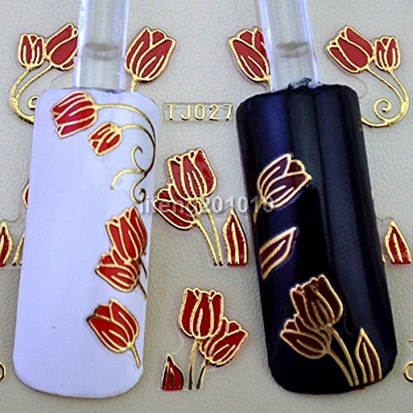 記事出くわすロンドンIthern(TM)6PCS赤いチューリップの花3Dネイルステッカーデカールネイルアートの装飾スタイリングツールホットスタンプゴールドデザインTJ027