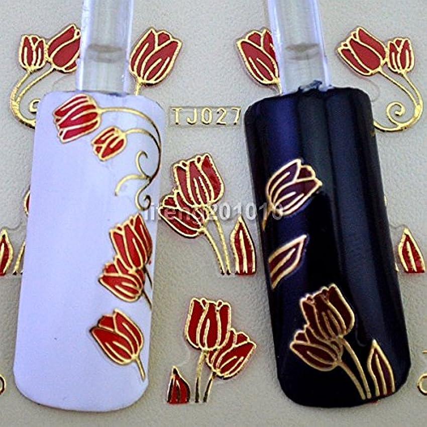 ヒゲクジラ政治家のインタビューIthern(TM)6PCS赤いチューリップの花3Dネイルステッカーデカールネイルアートの装飾スタイリングツールホットスタンプゴールドデザインTJ027