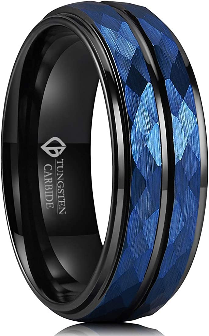Special sale item LOVE Beauties Men Wedding Black Blue Ring M 8mm Carbide Tungsten Kansas City Mall