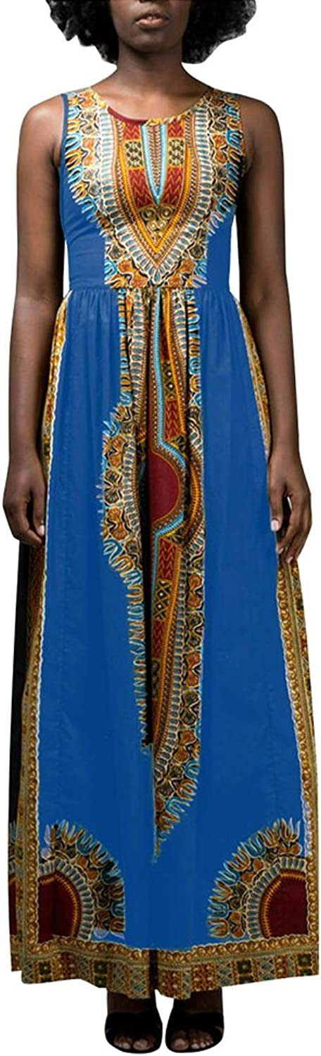 Aro Lora Women's African Print Round Neck Sleeveless Ethnic Dashiki Tank Long Maxi Dress