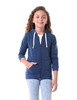 Kady Front Pockets Ribbed Trims Drawstring Zipped Hooded Cotton Jacket for Kids - Navy, 10 Years