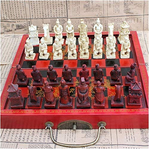 MWKLW Juego de Piezas de ajedrez Plegables de ajedrez Staunton, Pieza de ajedrez de Terracota Mediana, Figura de ajedrez de Resina estéreo, Juego de ajedrez de Viaje de ajedrez