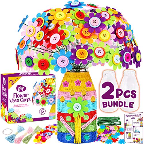 Innorock Flower Vase Craft Kit for Kids - Arts and Crafts Colorful Button Art Felt Flower Toy DIY Kit - Make Your Own Buttons Flower Bouquet Craft for Girls Boys Age 4 5 6 7 8 9 10 Years Old
