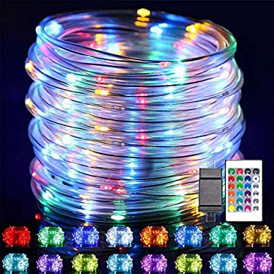 LED Rope Lights Outdoor String Light , 66FT 16 Color Changing LED Strip Light with Remote Control,Waterproof 200LED Outdoor Tube String Lights Plug in for Garden Patio Party ,Christmas Decor