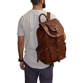 """Parrys Leather World 20"""" Rustic Vintage leather Backpack Bag Rucksack Laptop Bag Briefcase Messenger Bag Computer Bag for Men Women Backpack Brown Leather Bag Office Briefcase for Men Women Pittu Bag, 20"""" Large"""