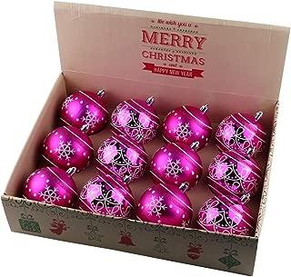 ALEKO CHB04RS Shatterproof Winter Print Ornament Holiday Christmas Set with Decorative Box Set of 12 Hot Pink