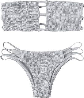 e884f25492 Yuson Girl Femme Été Sexy Maillot De Bain 2 Pieces Plissé Taille Haute  Ensemble De Bikini