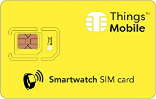 SIM Card for SMARTWATCH - Things Mobile - with Global Coverage and Multi-Operator GSM/2G/3G/4G LTE Network, No Fixed Costs, No Expiration Date and Competitive Rates, with $10 Credit Included