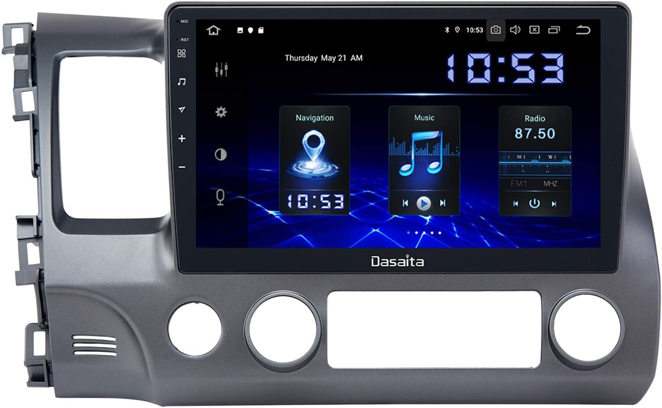 Dasaita 10 inch Screen Android 10.0 Car Stereo for Honda Civic 2006 to 2011 Radio Built-in Carplay Android Auto GPS Single Din Navigation 4G Ram 64G ROM DSP System 15Band EQ Multimedia
