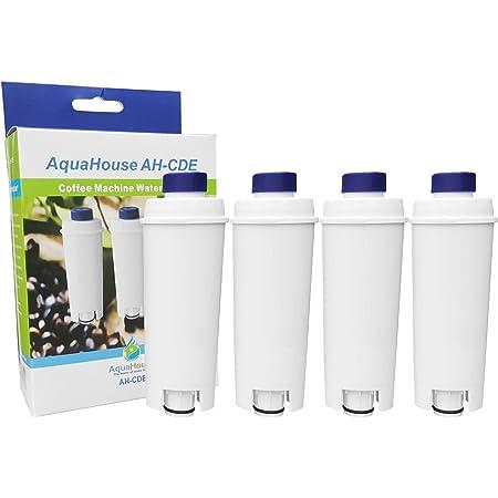 AquaHouse - Lot de 4 filtres de rechange AH-CDE compatibles avec cartouche de filtre à eau Delonghi DLSC002, SER3017, 5513292811- Pour machine à café