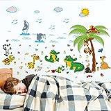DIY Adhesivos y Pegatinas de Pared Póster,110 * 70cm cocodrilo de dibujos animados animal paradise habitación de los niños dormitorio sala de estar fondo decoración de la pared etiqueta de la pared