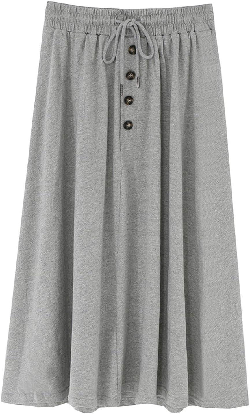 ZGZZ7 Women's Casual Cute Midi Skirts Below Knee Length A-line Ruffled Skirts