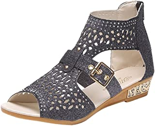 Women's Ladies Fashion Vintage Crystal Outdoor Hollow Out Zip Up Sandals Shoes
