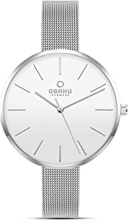 Obaku Denmark - Womens Designer Watch - Classic Modern Design Elegant Steel Case - Mesh Band - Model: Mynte, Color: Gold - Rose Gold - Silver - Charcoal - Granite - Sapphire Blue - Walnut, Best Gift
