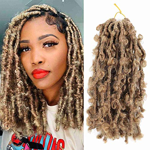 3 Packs Butterfly Locs Crochet Hair Distressed Locs Crochet Braids Bob Distressed Locs Crochet Braids Soft Natural Pre Looped Short Distressed Faux Locs Crochet Hair(3Packs #27)