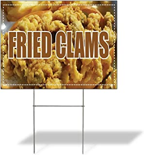 Plastic Weatherproof Yard Sign Fried Clams Fried Clams #1 Black for Sale Sign One Side 18inx12in