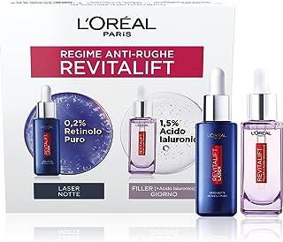 L'Oréal Paris Cofanetto Anti-Rughe, Ideale per Pelli Mature, Include 1 Siero Viso Revitalift Filler con Acido Ialuronico C...