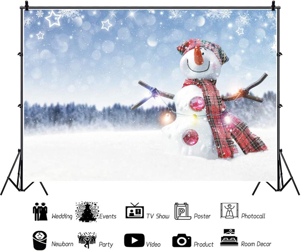 OERJU 8x6ft Winter World Backdrop Cute Snowman White Star Halos Photography Thanksgiving Day Party Decorations Merry Christmas Eve Supplies Happy New Year Family Portrait Photo Vinyl Wallpaper