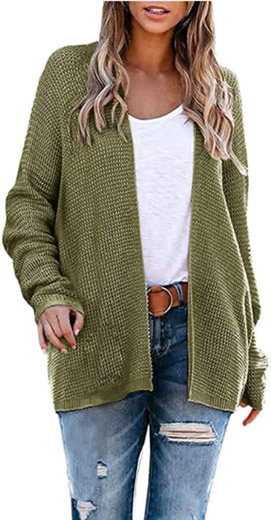 Cardigan Sweater for Women,Womens Long Sleeve Open Front Buttons Cable Knit Pocket Sweater Cardigan Sweater Outwear Coats