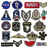 Toppe per Vestiti, 21 PCS Toppa Ricamata Aerospaziale Termoadesiva Toppe da Cucire Applicazioni per Vestiti, Giubbotti, Zaini, Maglietta
