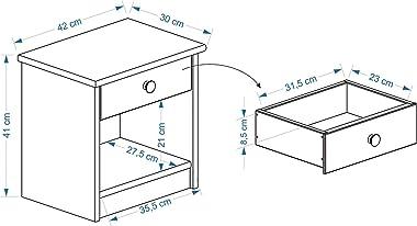 Table de Chevet Table de Nuit Isabella 1 tiroir pin Massif lasuré Blanc et Rose